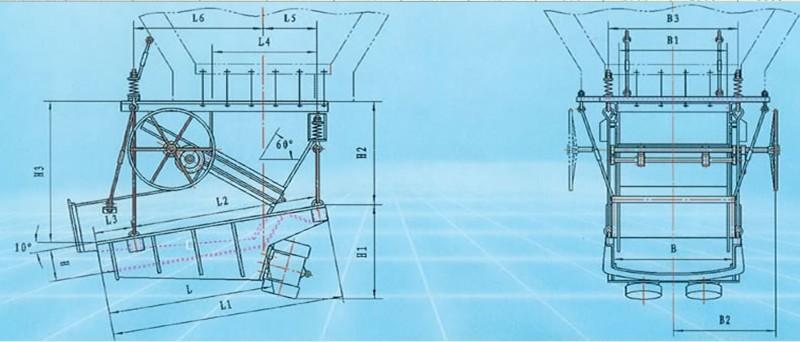 MZG型振动给料机安装外形图